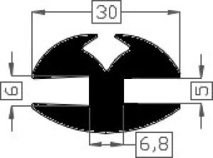 Raamrubber EPDM zwart 5/6