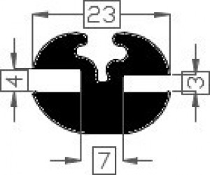 Raamrubber EPDM zwart 3/4