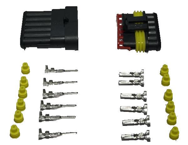 Superseal connector 6 Polig compleet