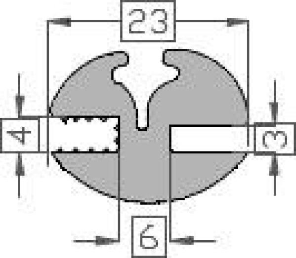 Raamrubber TPE grijs 3/4