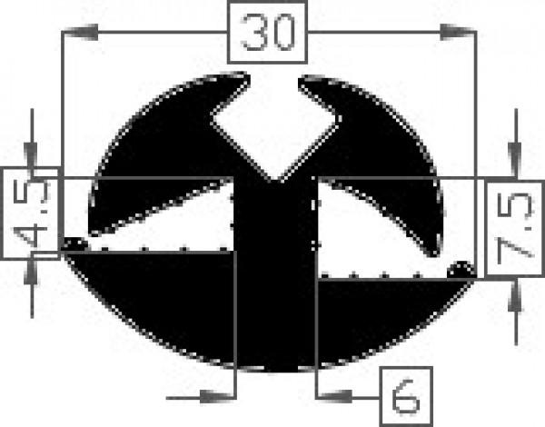 Raamrubber TPE zwart 7,5 /4,5